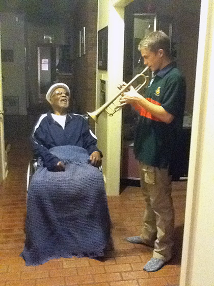Here's Ben Seacrist sharing a trumpet lesson with me.Photo: Gwen Terry