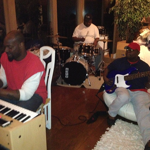 "I sang along while they played. What a beautiful anniversary gift! Left to right: Joey Davis (p), Donny ""DJ"" Haywood (dr), and James ""Dino"" Smith (b) Photo Credit: Gwen Terry"