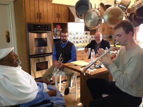 That's Josh Martin on the left, and Bass Deese on the right. Their teacher, Gary Meggs is in the back. Real promising students and a hip teacher!Photo Credit: Gwen Terry