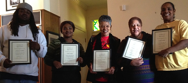 "Gwen and I presented my Health Aides with Certificates of Appreciation. They take excellent care of me, and I thank Big Prez for them! Left to right: J'Marcus Walker, J'Mille Walker, Gwen (Holding Marilyn Turner's Certificate), Brenetta ""Bunny"" King, and Camille Walker"